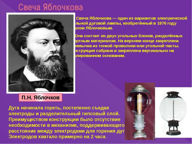 Свеча Яблочкова Свеча Яблочкова — один из вариантов электрической угольной ду...
