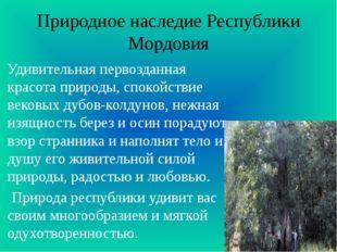 Природное наследие Республики Мордовия Удивительная первозданная красота прир