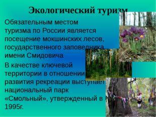 Экологический туризм Обязательным местом туризма по России является посещение