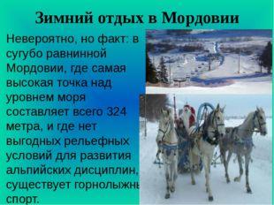 Зимний отдых в Мордовии Невероятно, но факт: в сугубо равнинной Мордовии, где