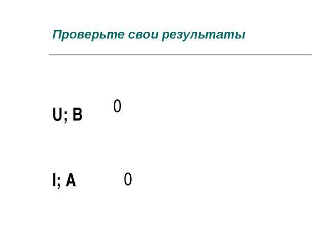 Проверьте свои результаты U; В 0   I; А 0