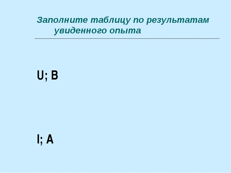 Заполните таблицу по результатам увиденного опыта U; В    I; А
