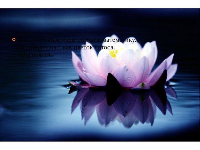 Мы с наслаждением познаём математику... Она восхищает нас, как цветок лотоса....