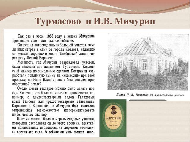 Турмасово и И.В. Мичурин
