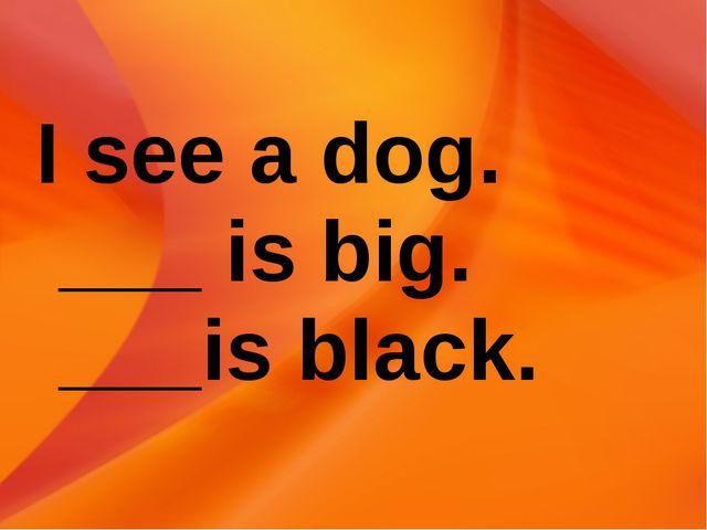 I see a dog. ___ is big. ___is black.