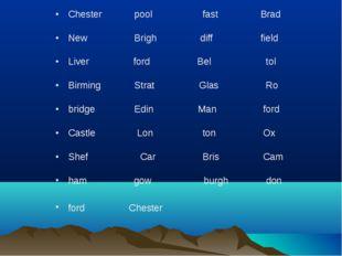 Chester  pool fast Brad New Brigh diff field Liver ford Bel tol Birmi