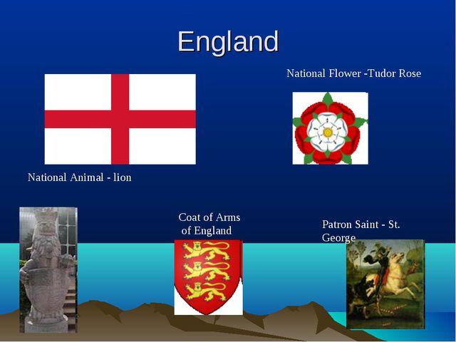 England Patron Saint - St. George National Flower -Tudor Rose National Animal...