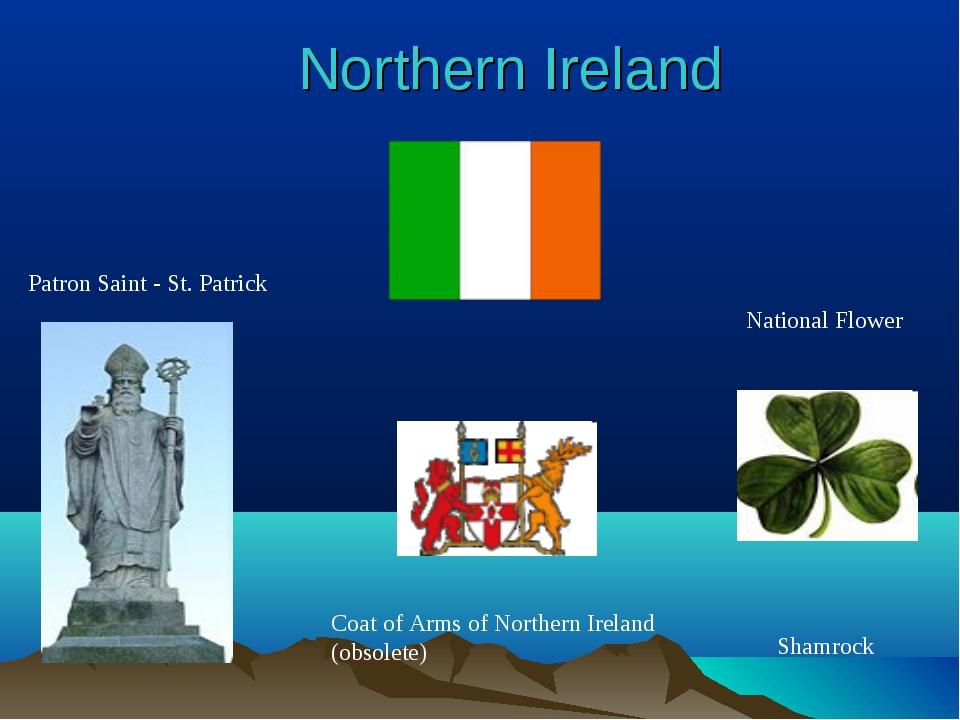 Northern Ireland Patron Saint - St. Patrick National Flower Shamrock Coat of...