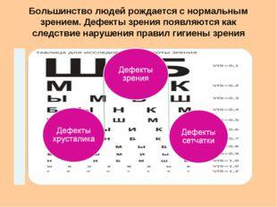 Большинство людей рождается с нормальным зрением. Дефекты зрения появляются к