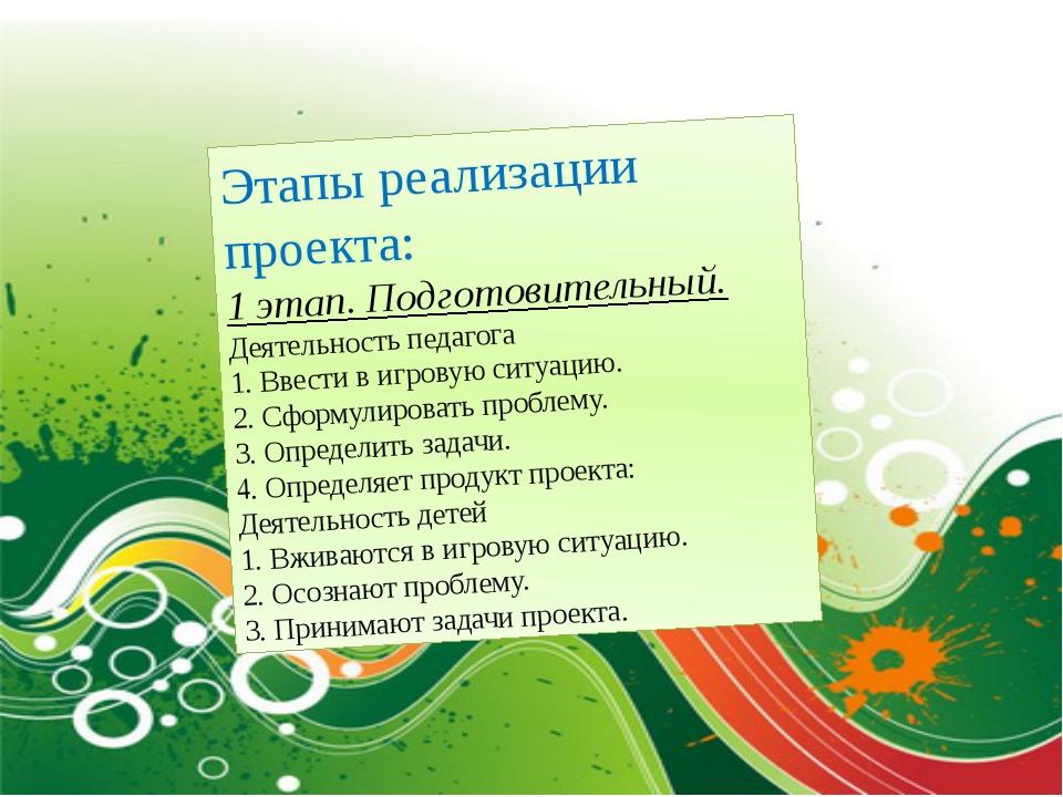 Этапы реализации проекта: 1 этап. Подготовительный. Деятельность педагога 1....