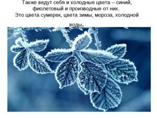 Также ведут себя ихолодныецвета – синий, фиолетовый и производные от них. Э