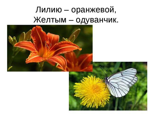 Лилию – оранжевой, Желтым – одуванчик.
