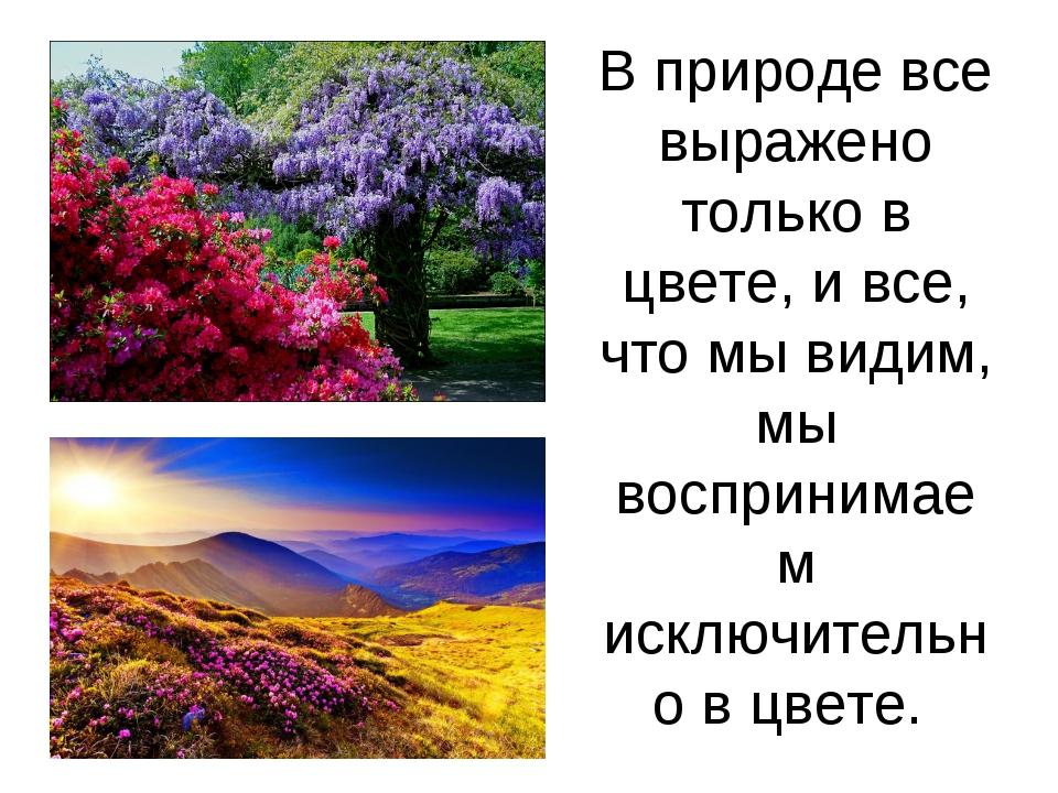 В природе все выражено только в цвете, и все, что мы видим, мы воспринимаем и...