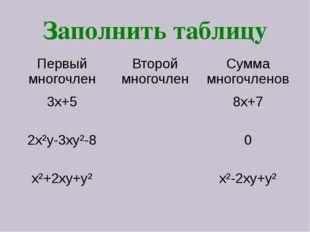 Заполнить таблицу Первый многочлен Второй многочлен Сумма многочленов 3х+5 8х