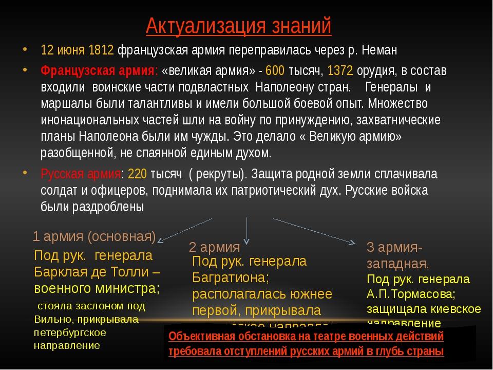 Актуализация знаний 12 июня 1812 французская армия переправилась через р. Нем...