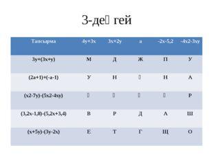 3-деңгей Тапсырма 4у+3х 3х+2у а -2х-5,2 -4х2-3ху 3у+(3х+у) М Д Ж П У (2а+1)+(
