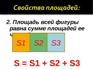 2. Площадь всей фигуры равна сумме площадей ее частей. S = S1 + S2 + S3 S1 S2