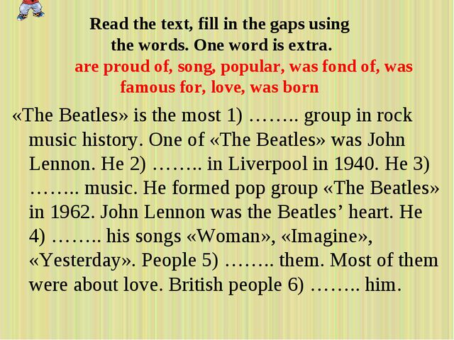 «The Beatles» is the most 1) …….. group in rock music history. One of «The Be...