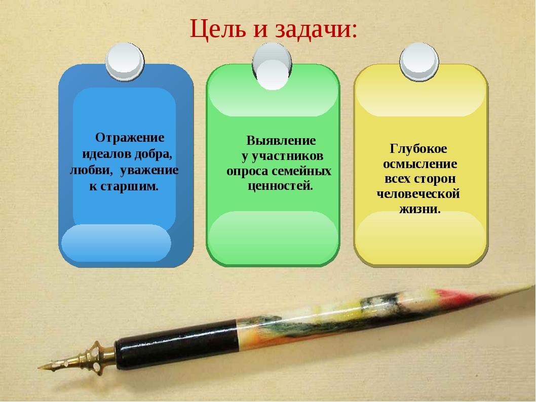 Цель и задачи: Отражение идеалов добра, любви, уважение к старшим. Глубокое о...