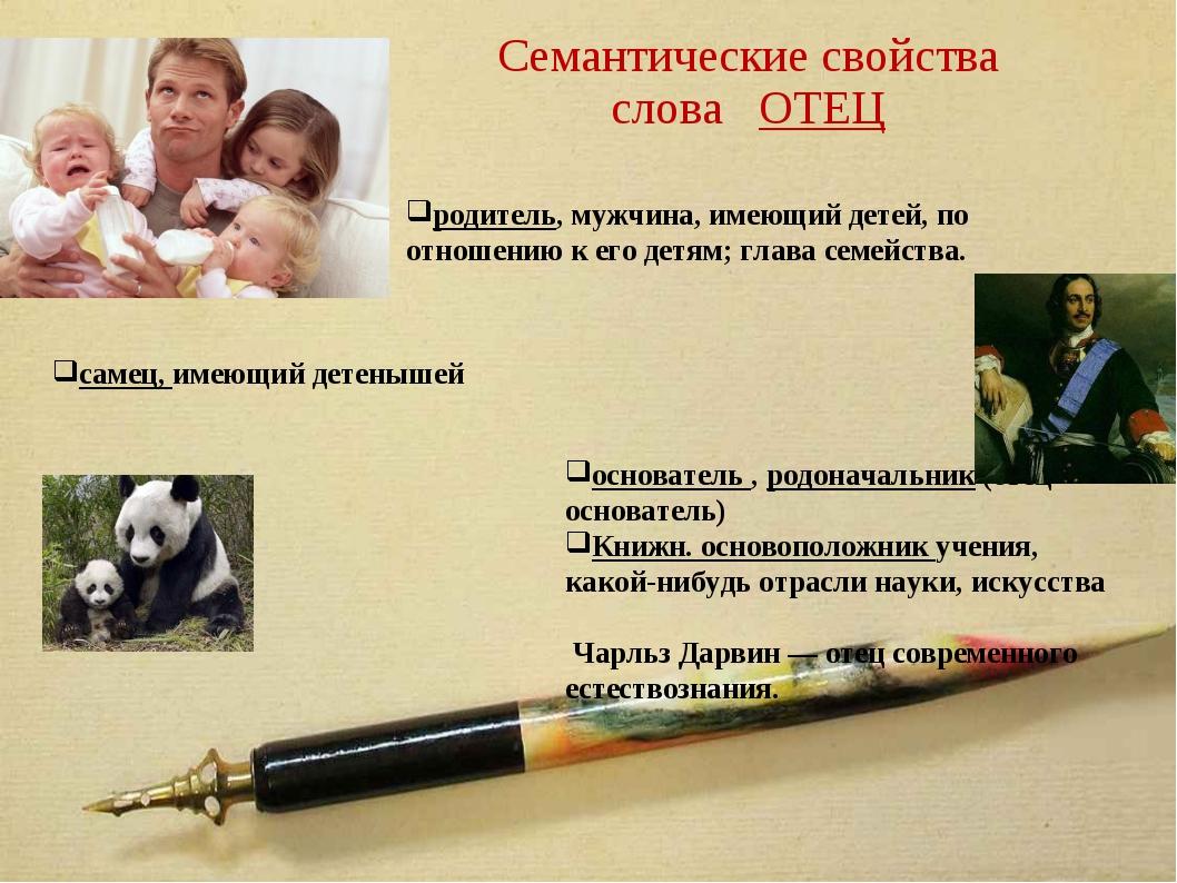 Семантические свойства слова ОТЕЦ родитель, мужчина, имеющий детей, по отноше...
