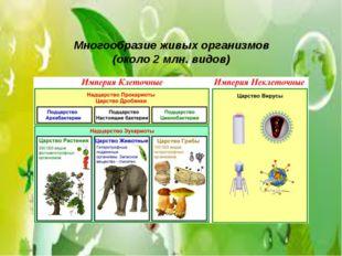 Многообразие живых организмов (около 2 млн. видов)