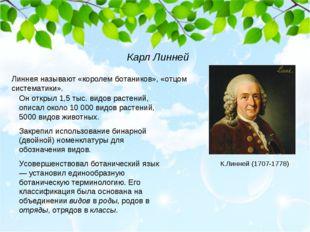 Линнея называют «королем ботаников», «отцом систематики». Он открыл 1,5 тыс.