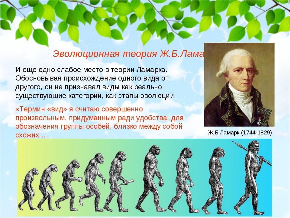 Эволюционная теория Ж.Б.Ламарка И еще одно слабое место в теории Ламарка. Обо...