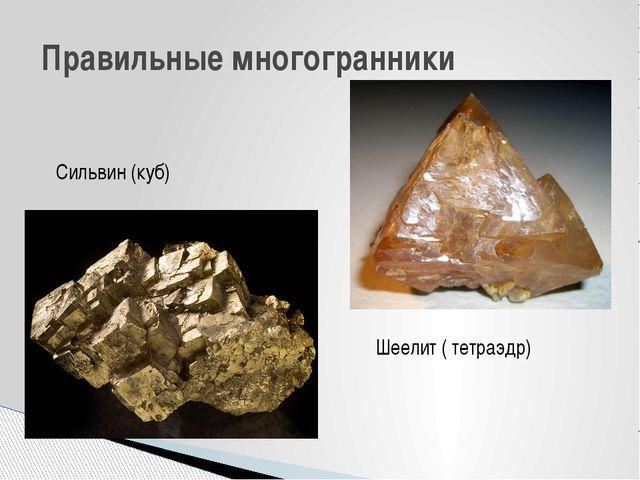 Правильные многогранники Шеелит ( тетраэдр) Сильвин (куб) Минерал сильвин име...