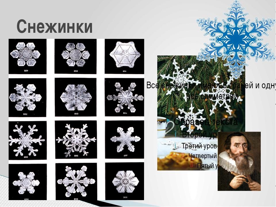 Простые Звездчатые Снежинки Все снежинки имеют 6 граней и одну ось симметрии...