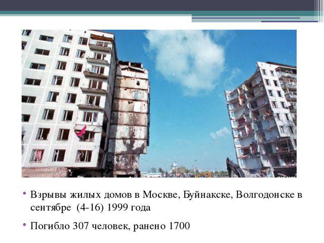 Взрывы жилых домов в Москве, Буйнакске, Волгодонске в сентябре (4-16) 1999 г...