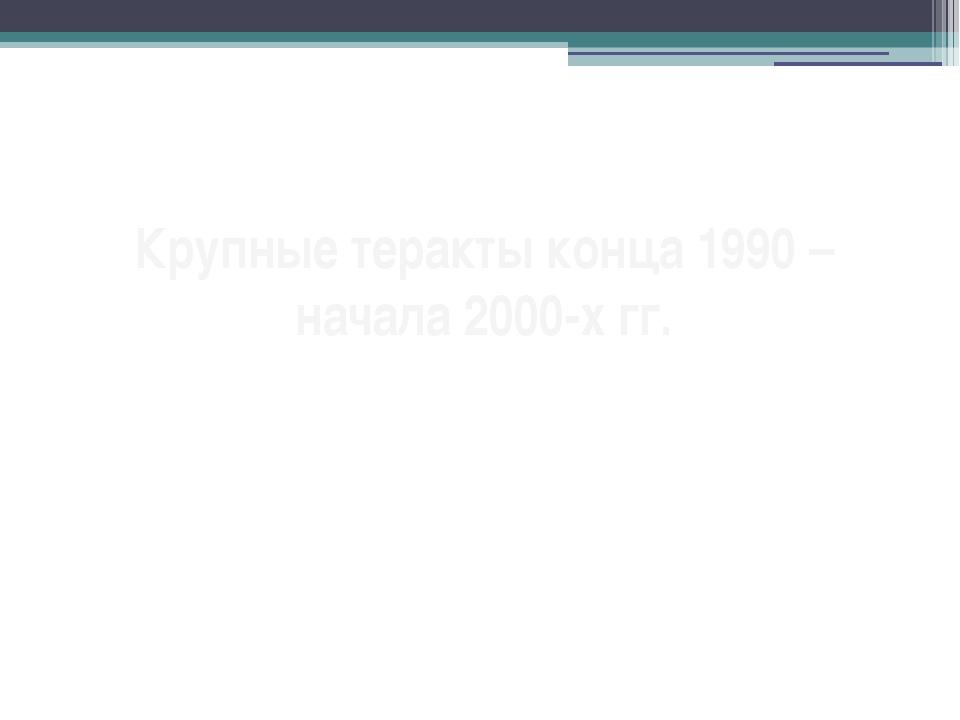 Крупные теракты конца 1990 – начала 2000-х гг.
