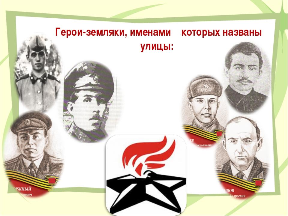 Герои-земляки, именами которых названы улицы:
