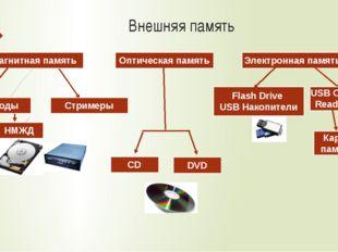 Внешняя память Магнитная память Стримеры Дисководы Электронная память НГМД НМ