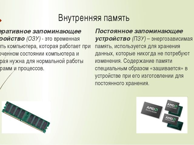 Внутренняя память Оперативное запоминающее устройство (ОЗУ) - это временная п...