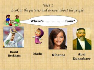 Task 2 Look at the pictures and answer about the people. Where's …………….. fro