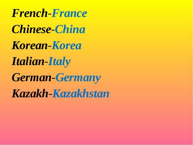 French-France Chinese-China Korean-Korea Italian-Italy German-Germany Kaza...