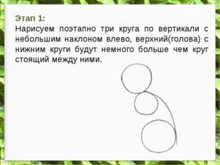 Этап 1: Нарисуем поэтапно три круга по вертикали с небольшим наклоном влево,