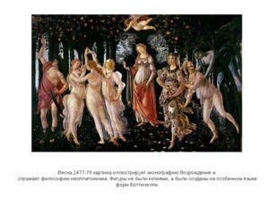 Весна,1477-78 картина иллюстрирует иконографию Возрождения и отражает филосо