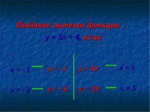Найдите значение функции y = 5x + 4, если: х = - 1 х = - 2 х = 3 х = 5 y = -