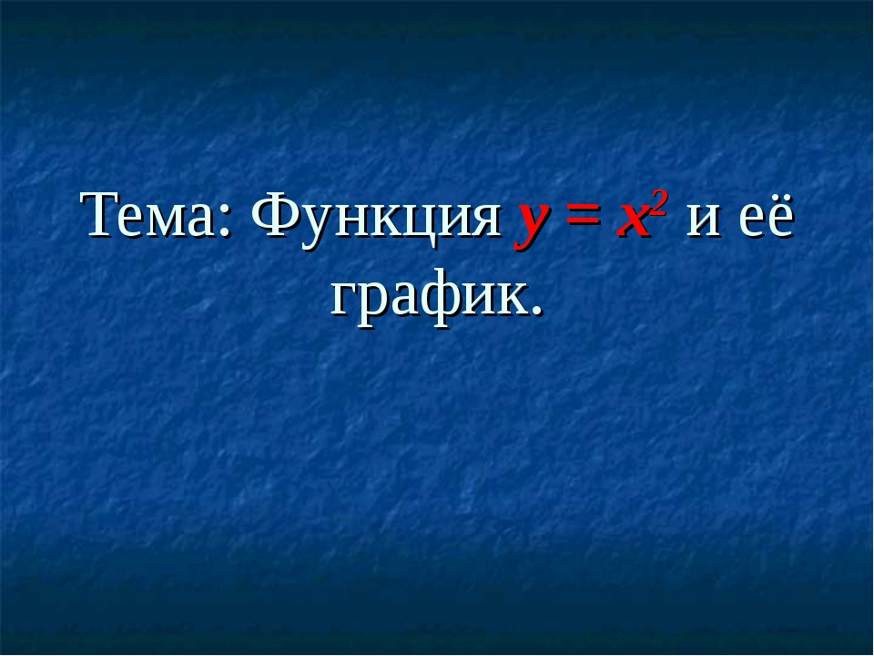 Тема: Функция y = x2 и её график.