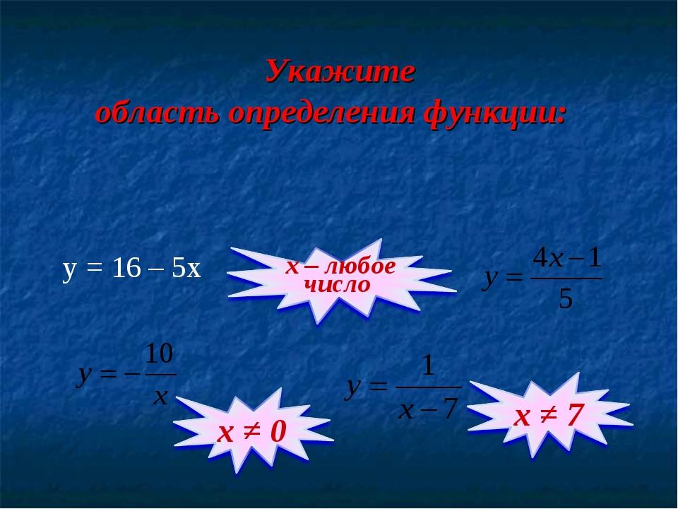 Укажите область определения функции: y = 16 – 5x