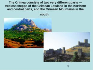 The Crimea consists of two very different parts — treeless steppe of the Crim