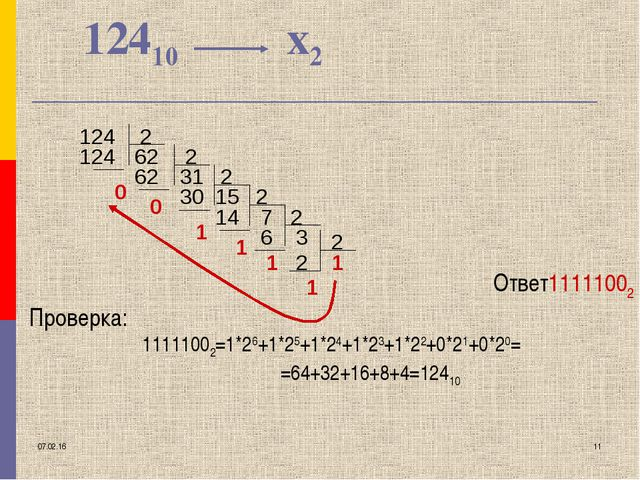 * * 12410 х2 Ответ11111002 Проверка: 11111002=1*26+1*25+1*24+1*23+1*22+0*21+0...