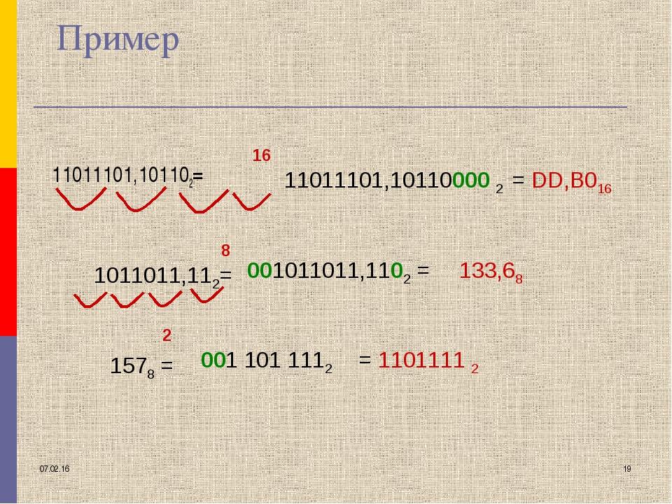 * * Пример 11011101,101102= 16 8 2 11011101,10110000 2 1011011,112= = DD,B016...