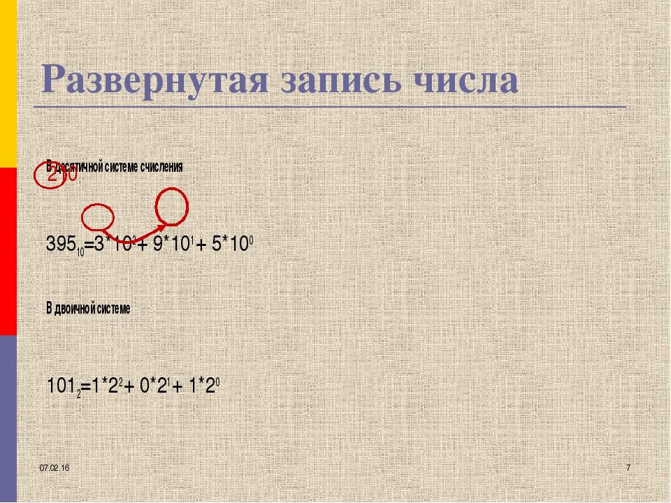 * * Развернутая запись числа В десятичной системе счисления 39510=3*102 + 9*1...