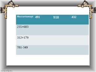 Мысал/шешуі 491 918 432 235+683 312+179 781-349