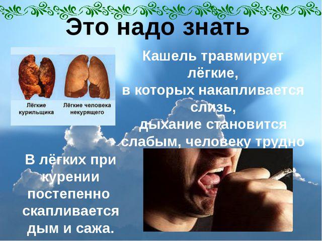 Это надо знать В лёгких при курении постепенно скапливается дым и сажа. Кашел...