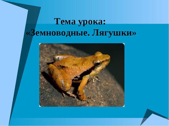 Тема урока: «Земноводные. Лягушки»
