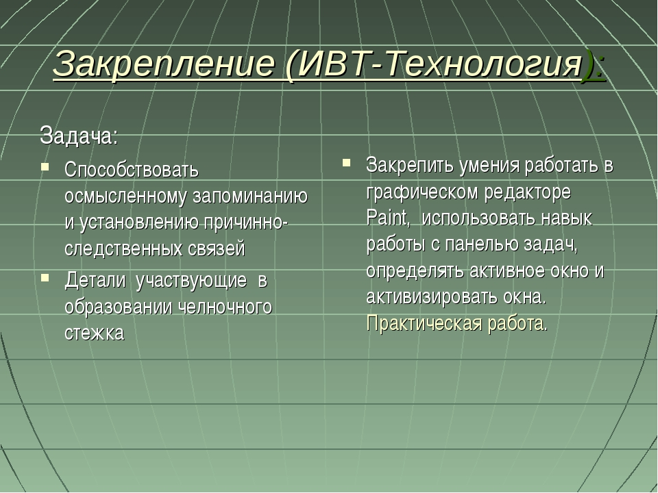 Закрепление (ИВТ-Технология): Задача: Способствовать осмысленному запоминанию...