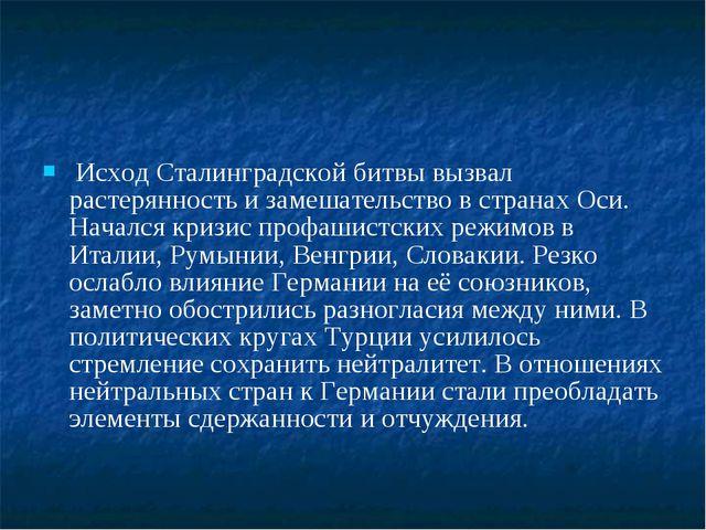 Исход Сталинградской битвы вызвал растерянность и замешательство в странах О...